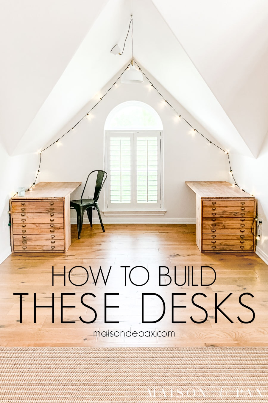 cute wood desks with drawers in window nook with overlay: how to build these desks | Maison de Pax