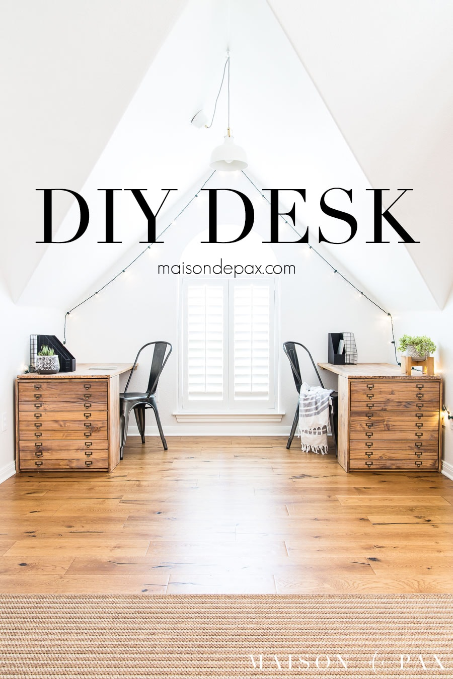 two wooden desks with drawers in white window nook, with text overlay: DIY Desk | Maison de Pax
