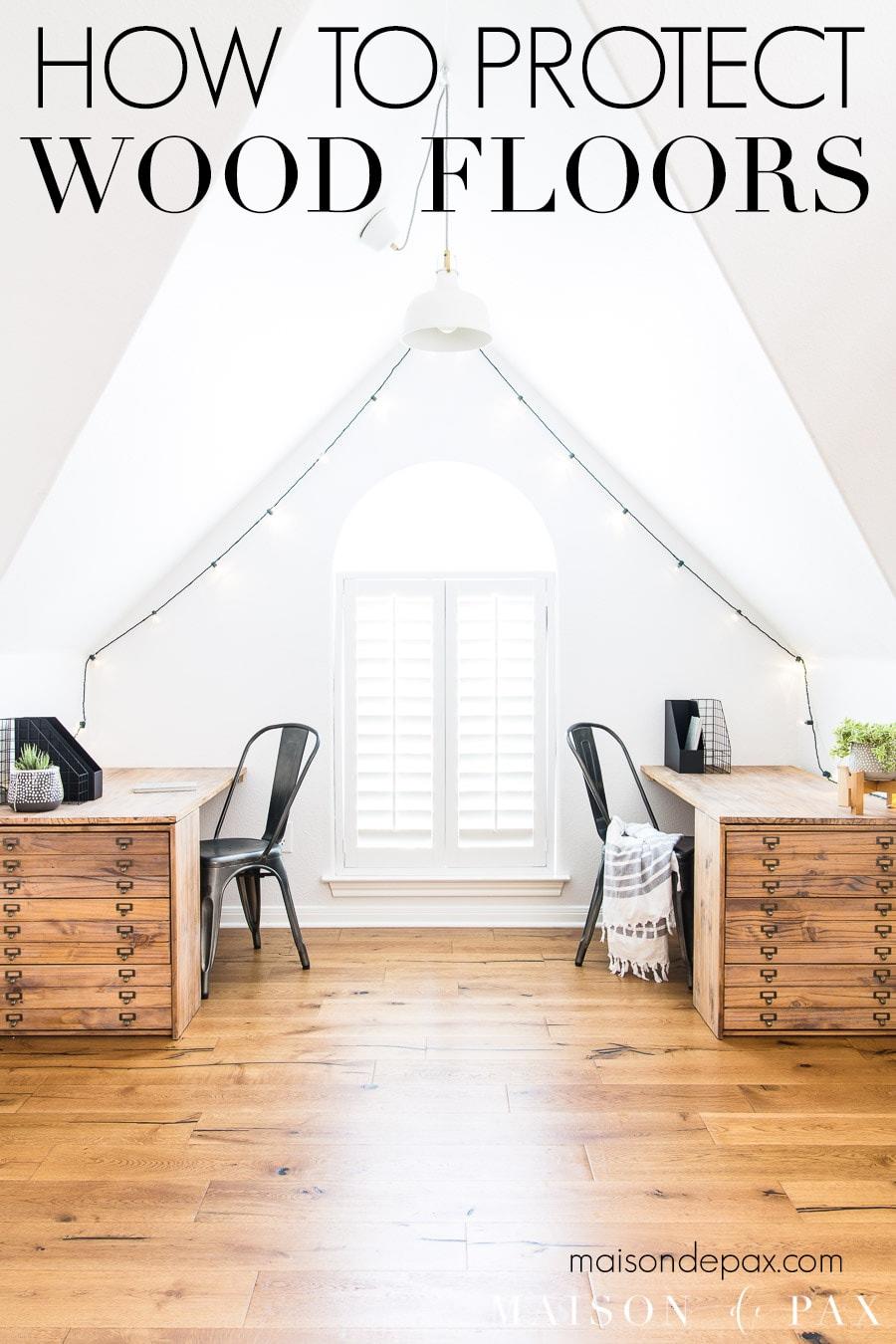white office with rustic wood flooring | Maison de Pax