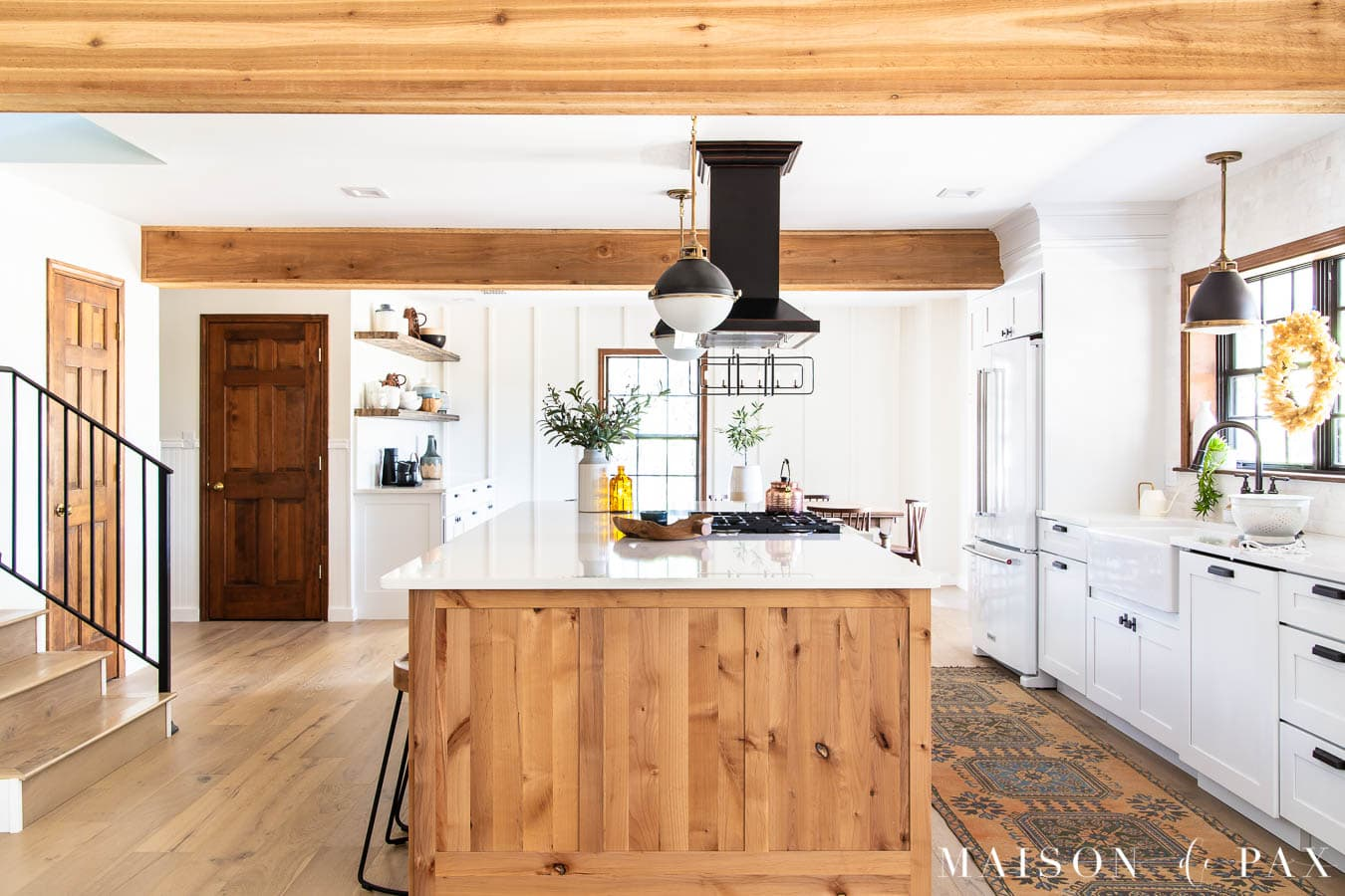 modern farmhouse kitchen wood island white cabinetry | Maison de Pax