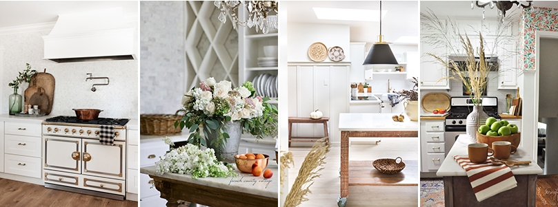four kitchens decorated for fall