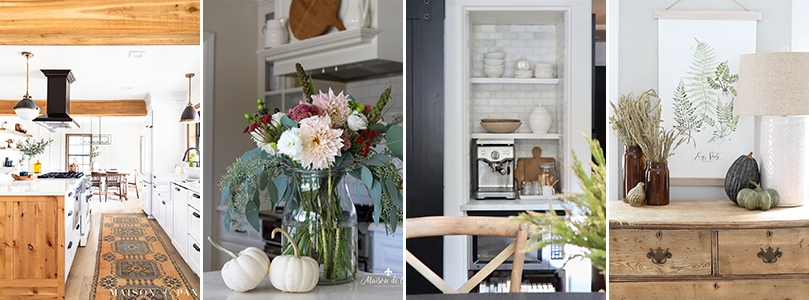 four kitchens decorated with farmhouse fall decor