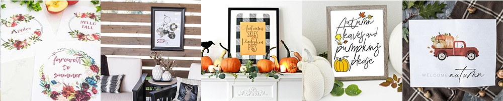 five different free fall printables