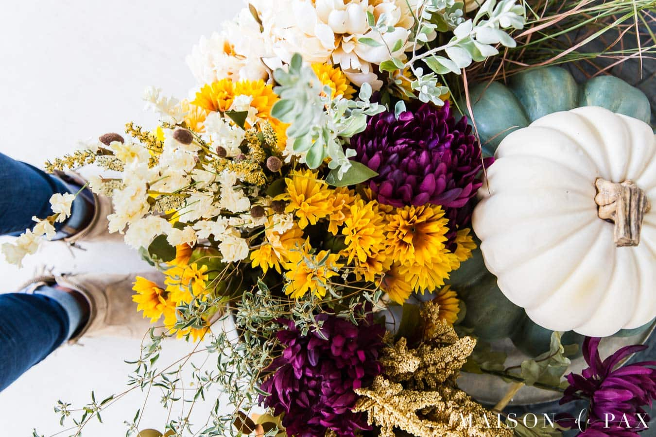 purple and yellow and green fall floral planters in galvanized tub | Maison de Pax