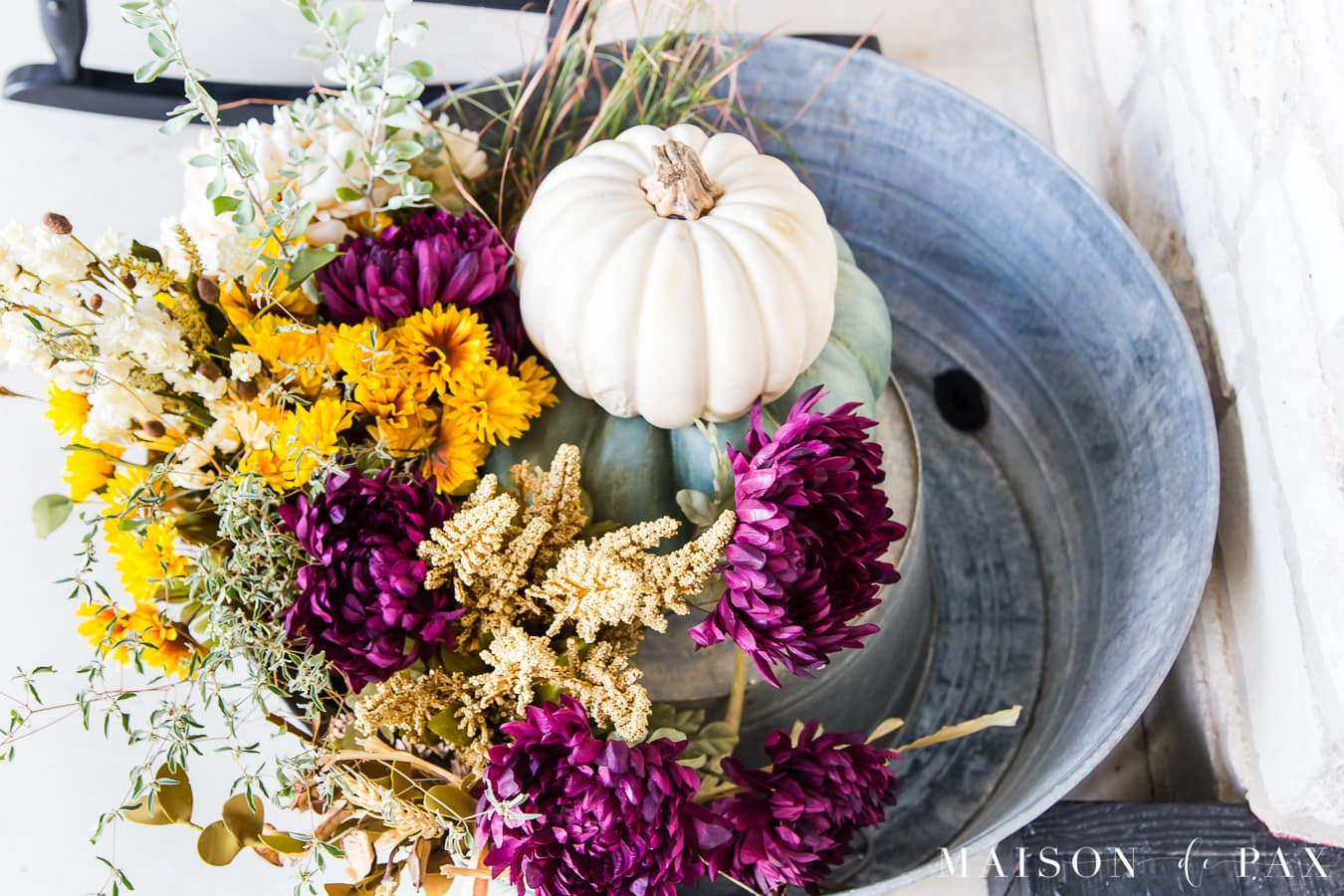 galvanized tub filled with autumn florals and pumpkins | Maison de Pax