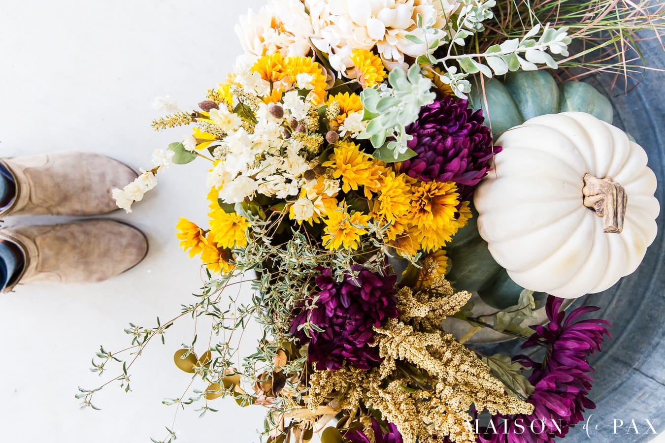 purple and gold flowers with green and white pumpkins front porch planter | Maison de Pax