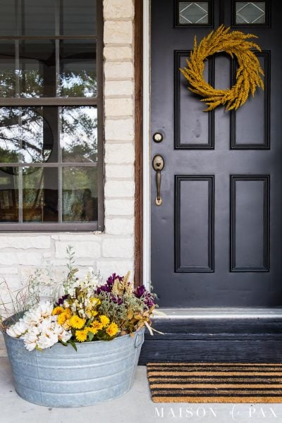 galvanized tub with purple and yellow flowers and pumpkins | Maison de Pax