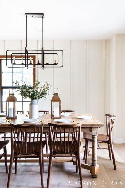 white dining room with board and batten wall treatment