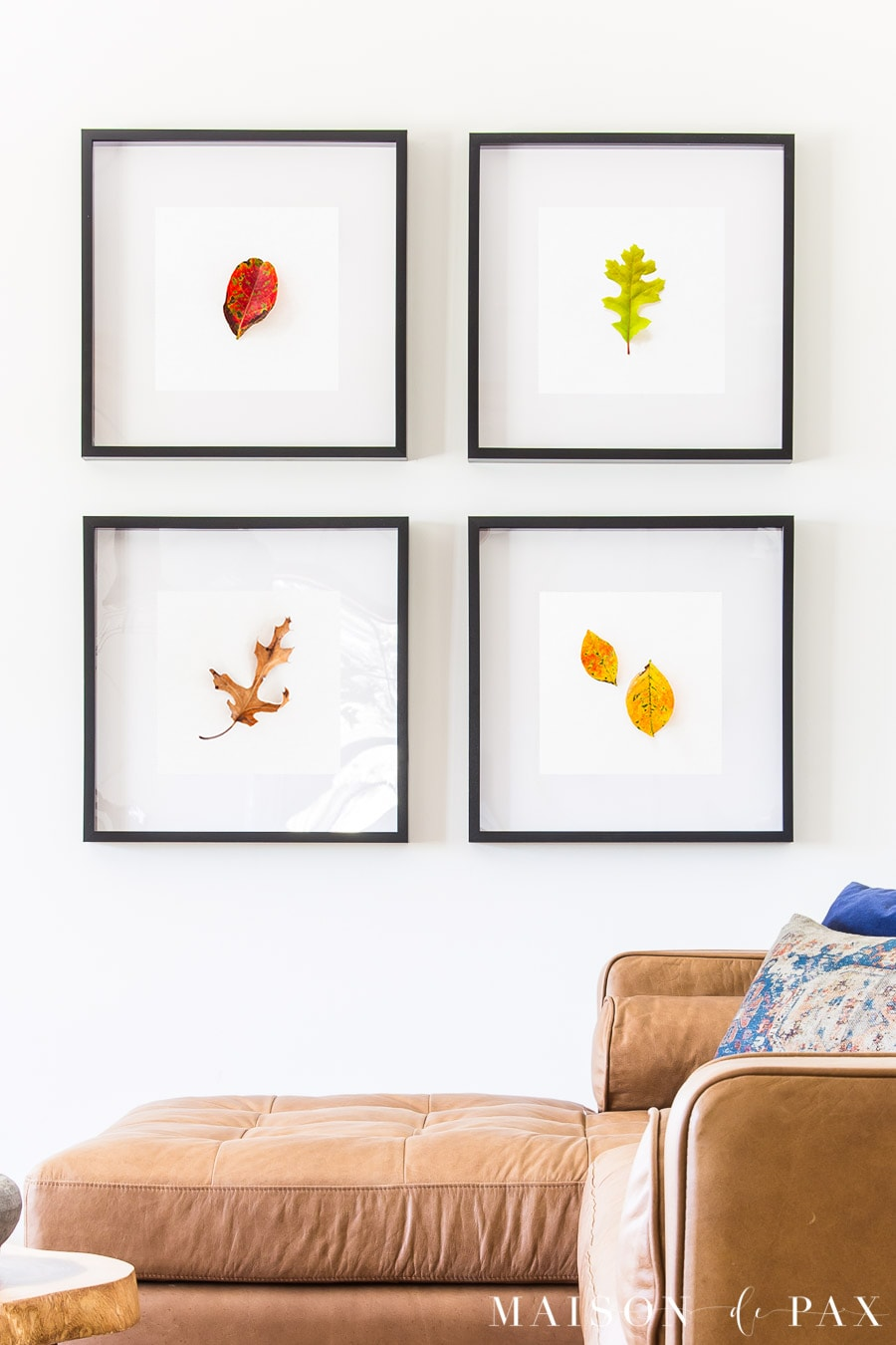 red, yellow, green, and brown fall leaves as printable wall art | Maison de Pax