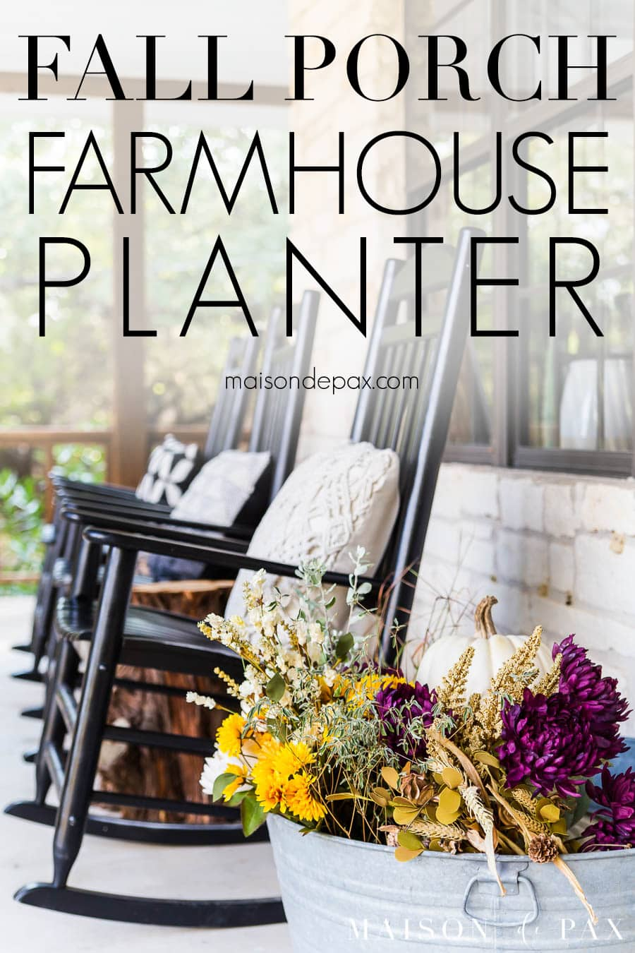 colorful flowers in planter by black rocking chairs on farmhouse porch | Maison de Pax