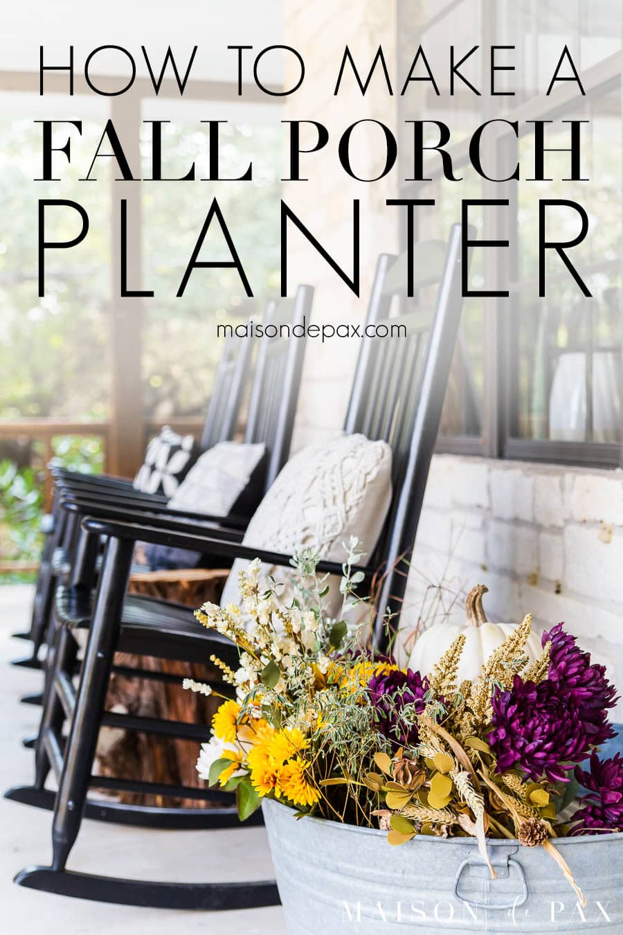 fall colored flowers in galvanized tub on farmhouse porch | Maison de Pax