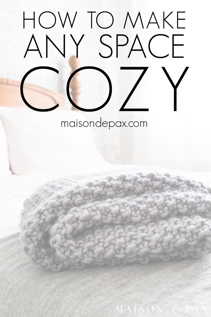 wood knit throw folded on bed | Maison de Pax