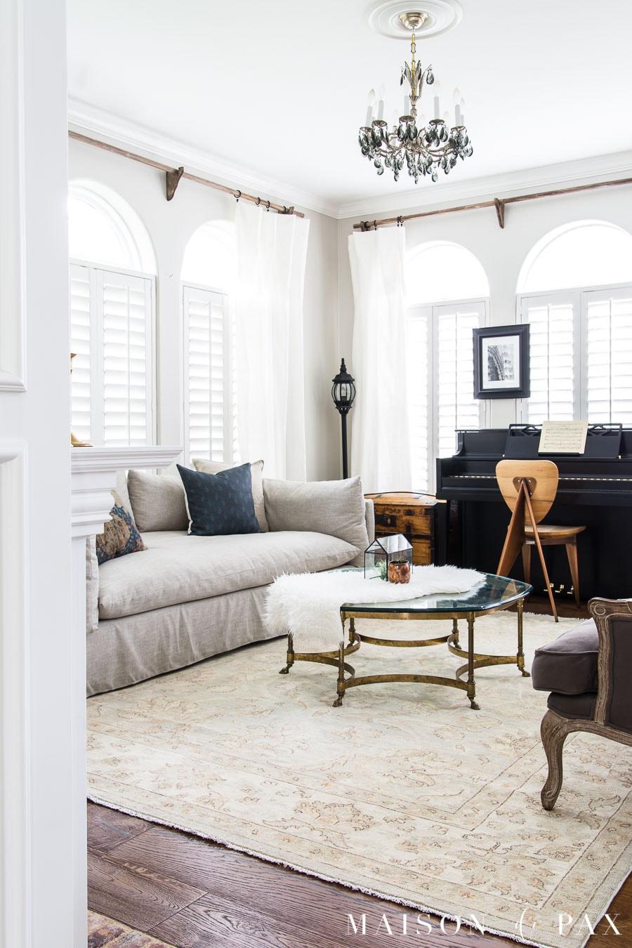 elegant formal living with modern elements   Maison de Pax