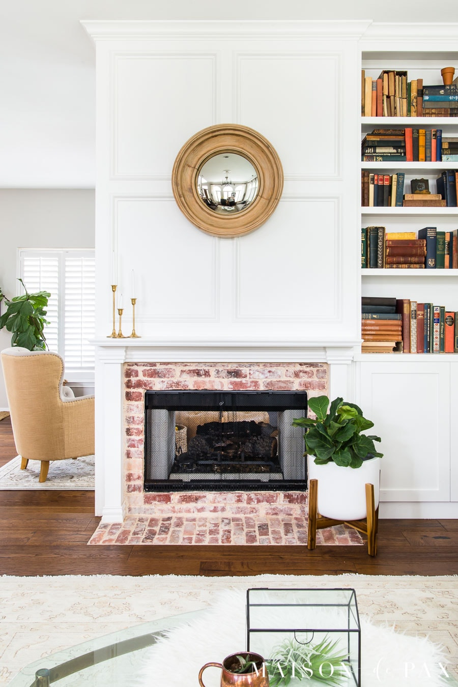 wood wall treatment: decorative molding around fireplace