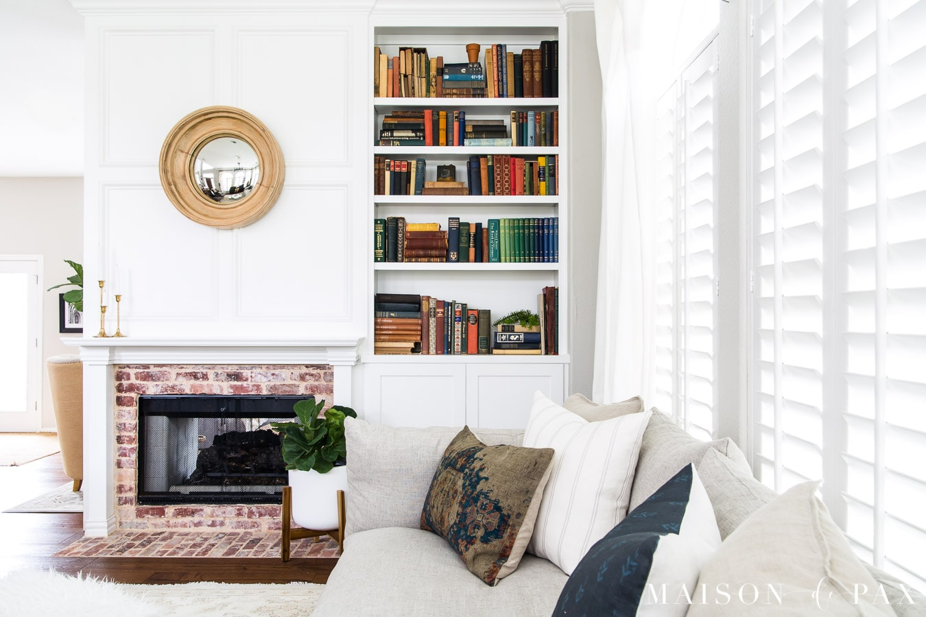 white molding around fireplace, mantel, and bookcase with untinted SW Proclassic paint | Maison de Pax