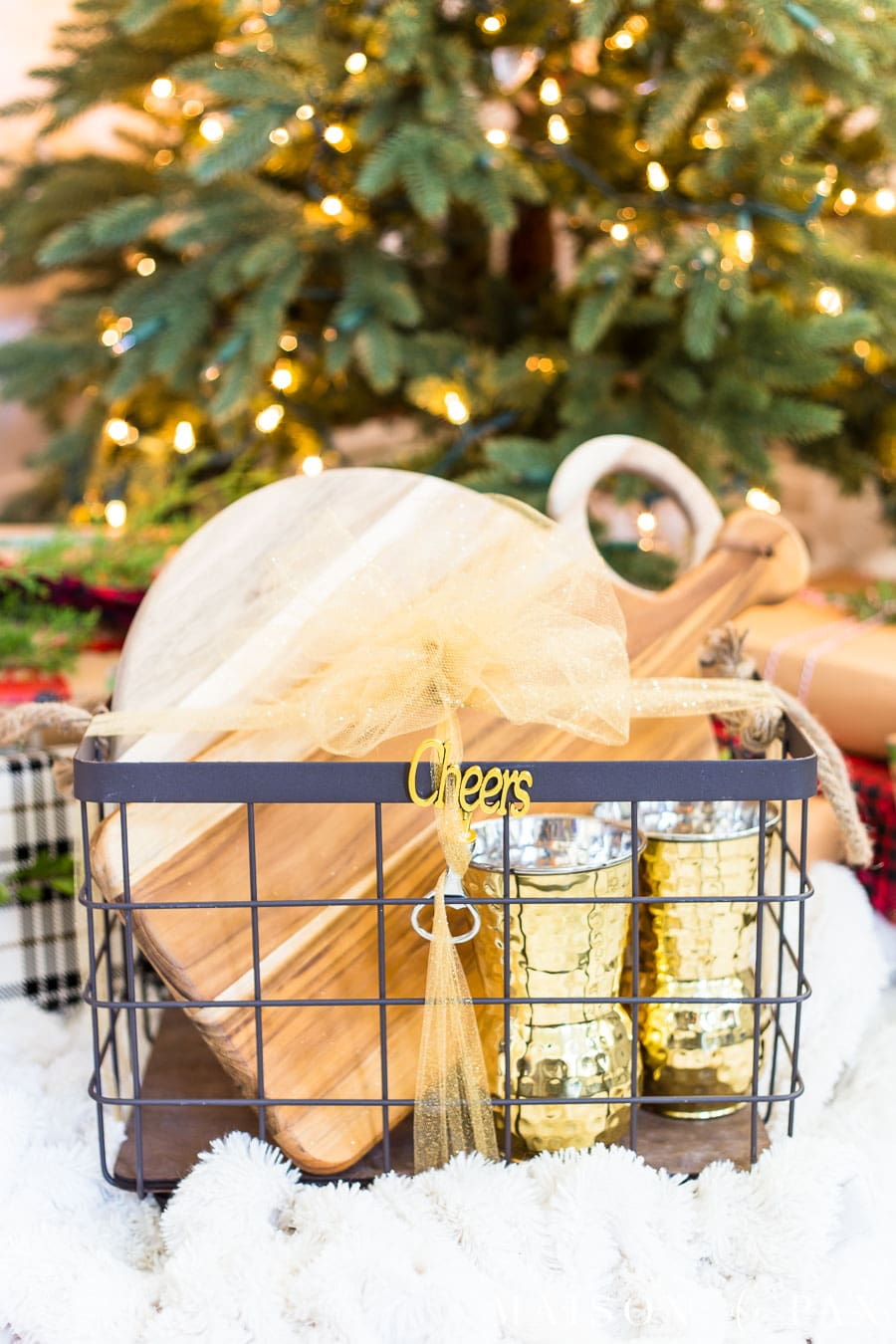 wrapped gold and wood gift basket | Maison de Pax