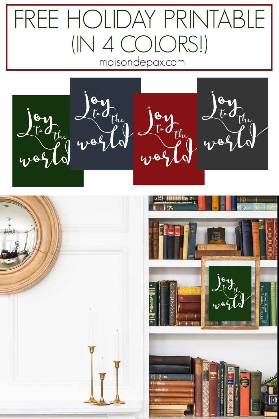 free holiday printable in four colors | Maison de Pax
