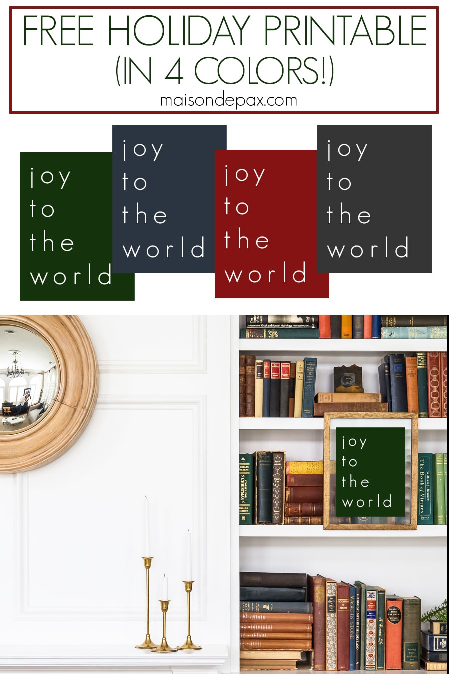 green, blue, red, and gray holiday printables for free | Maison de Pax