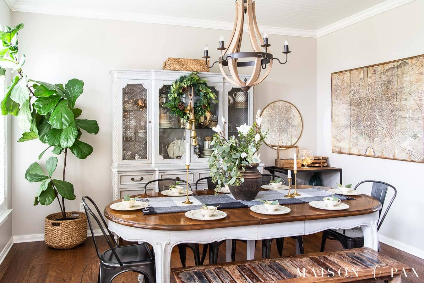 french farmhouse dining room with holiday decor | Maison de Pax