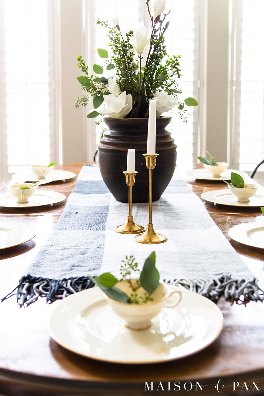 gray black and white plaid table runner with gold dishes | Maison de Pax