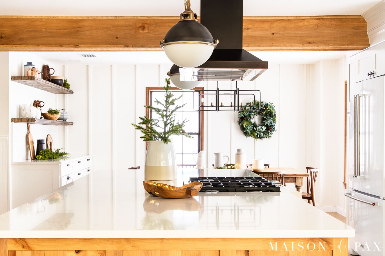 copper LED string lights in bowl on kitchen island | Maison de Pax