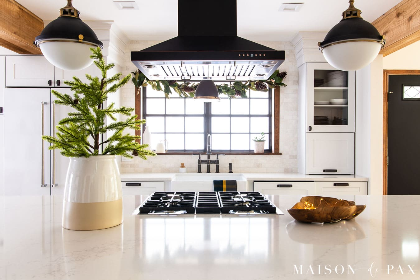 mini pine tree on kitchen island | Maison de Pax