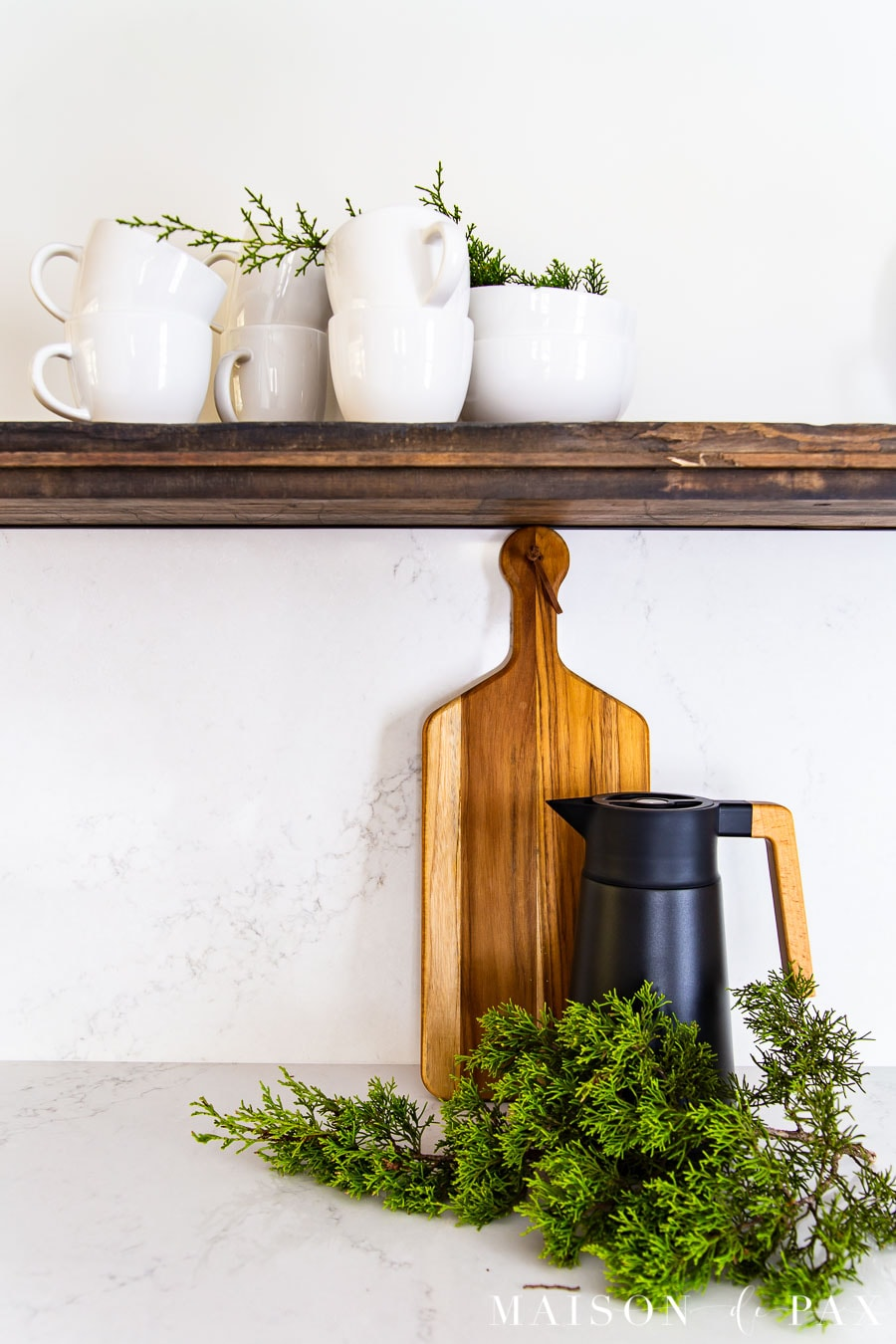 fresh cedar clippings on kitchen counter for holiday decor | Maison de Pax