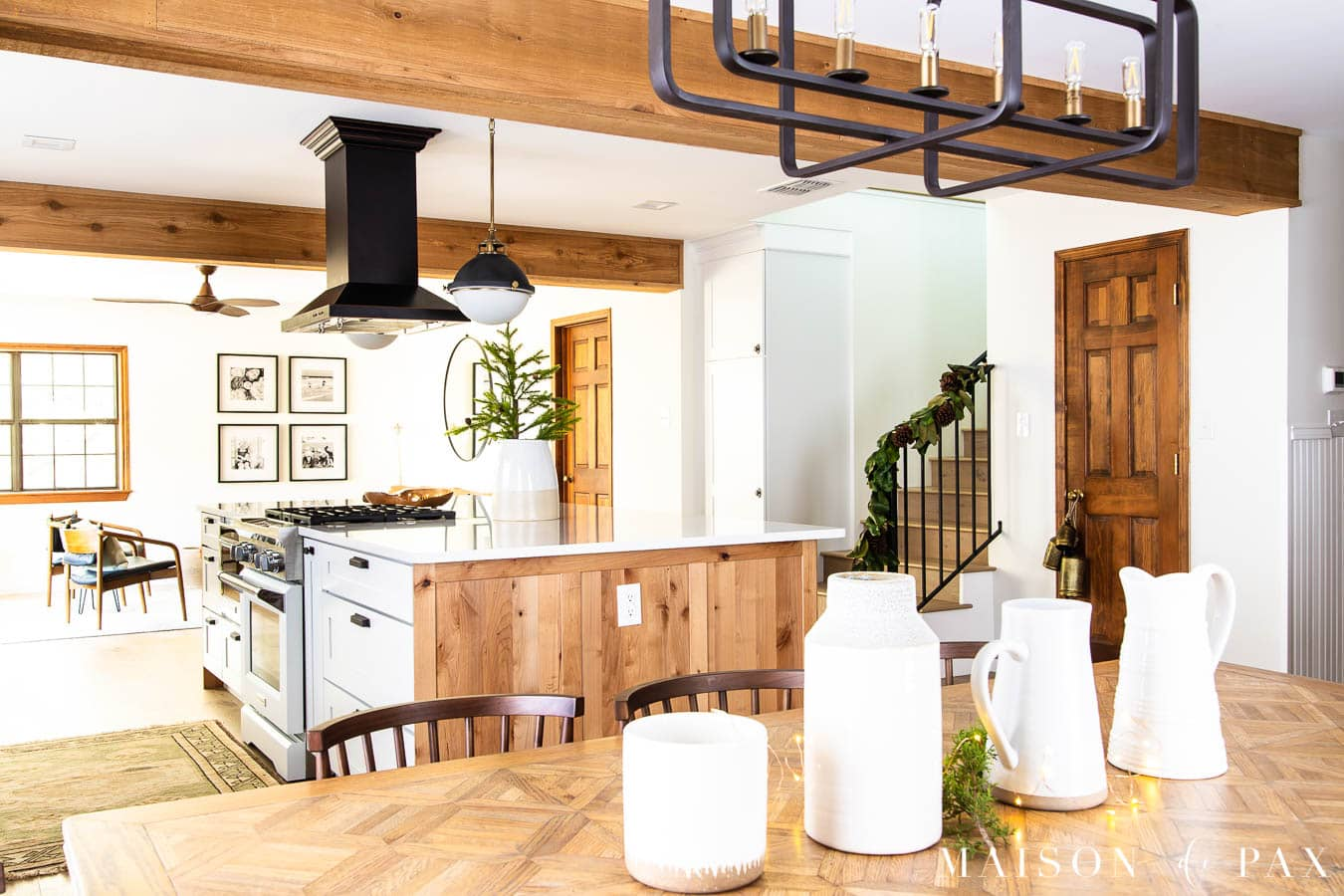 wood and white modern farmhouse open kitchen living dining | Maison de Pax