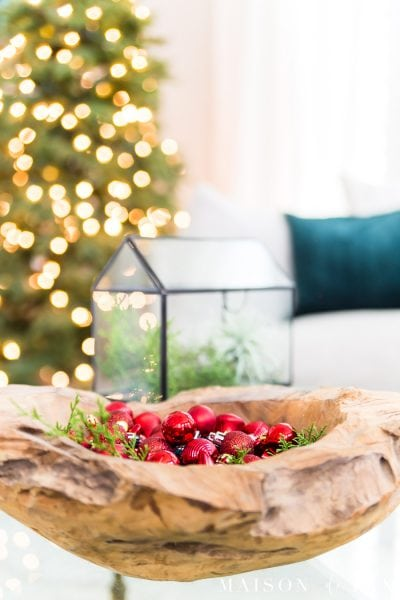 rustic wood bowl with red glass ornaments | Maison de Pax