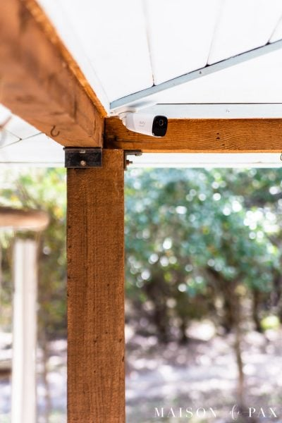 outdoor security camera in porch roof | Maison de Pax