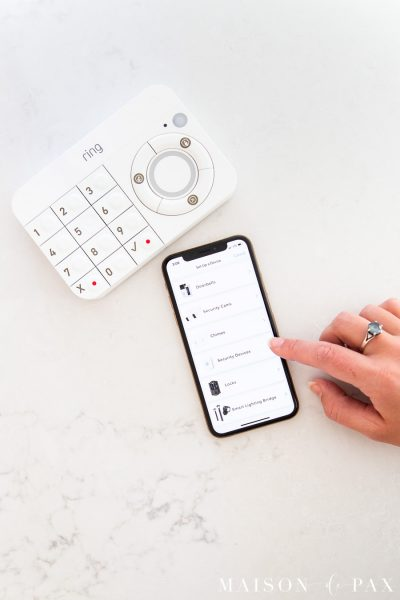 ring keypad and smart phone set up | Maison de Pax