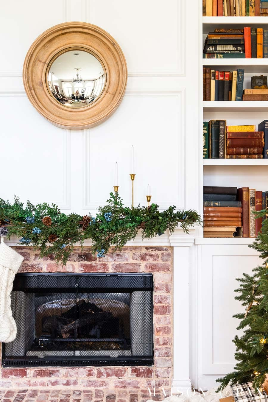 fireplace with garland and stockings
