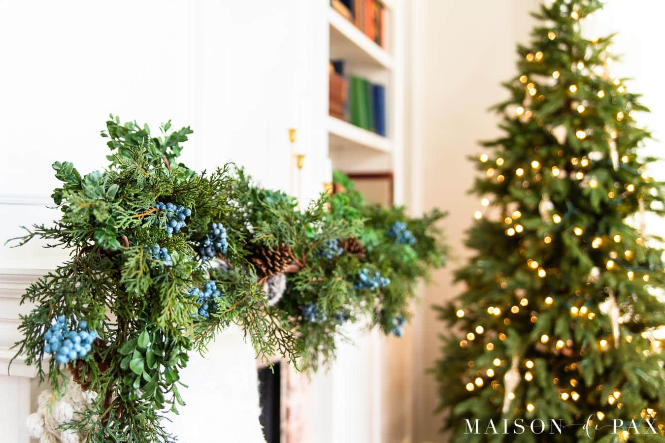 juniper and boxwood garland on mantel | Maison de Pax