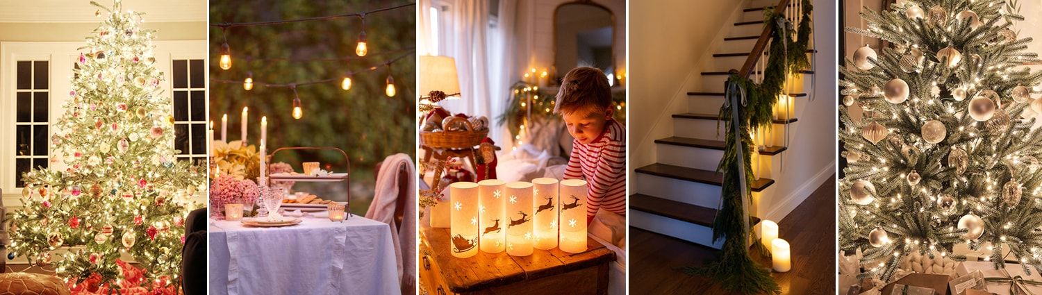 christmas home tours at night with twinkle lights