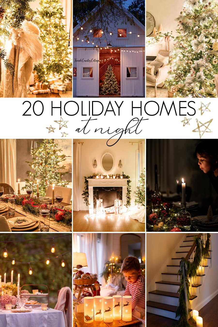 collage of holiday home photos at night | Maison de Pax
