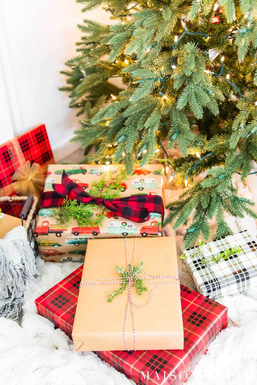 coordinated wrapping papers with red plaid, Kraft paper, and holiday patterns | Maison de Pax