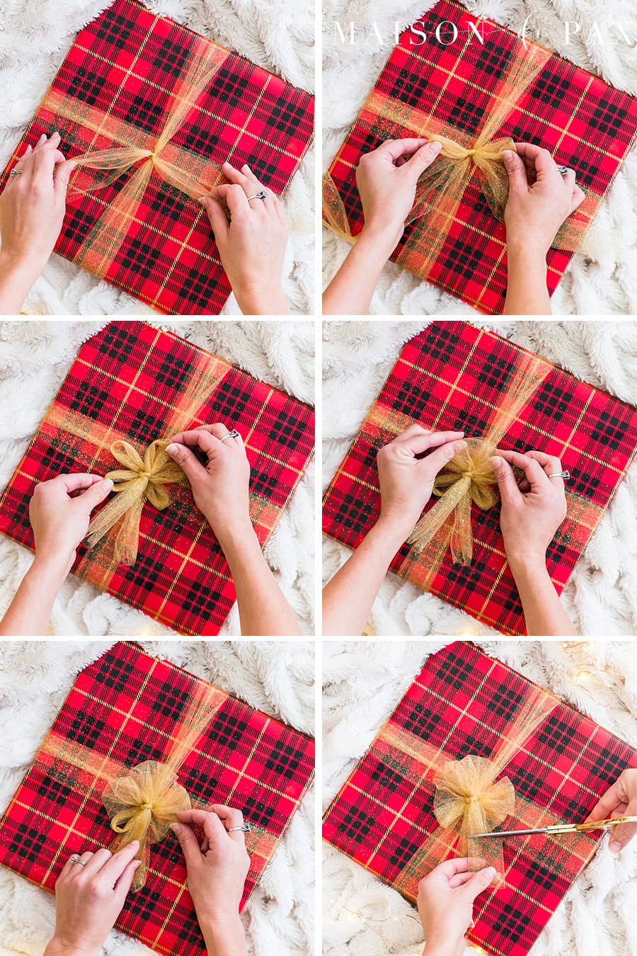 red plaid package with gold tulle bow | Maison de Pax