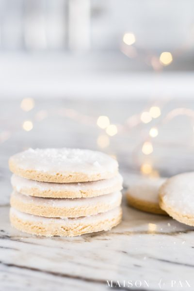 stack of beautiful iced peanut butter cookies | Maison de Pax