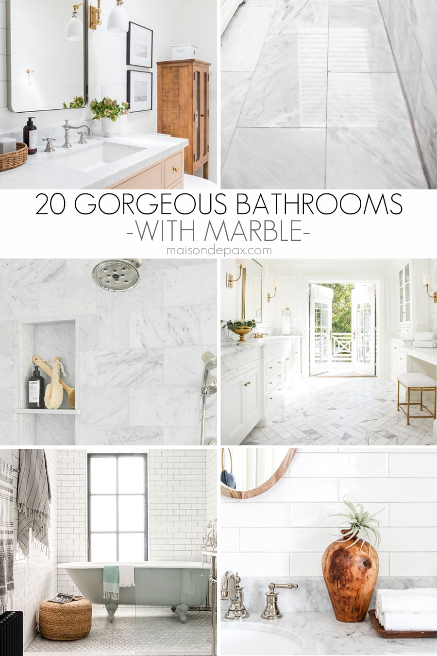 collage with 6 different images of bathrooms with marble