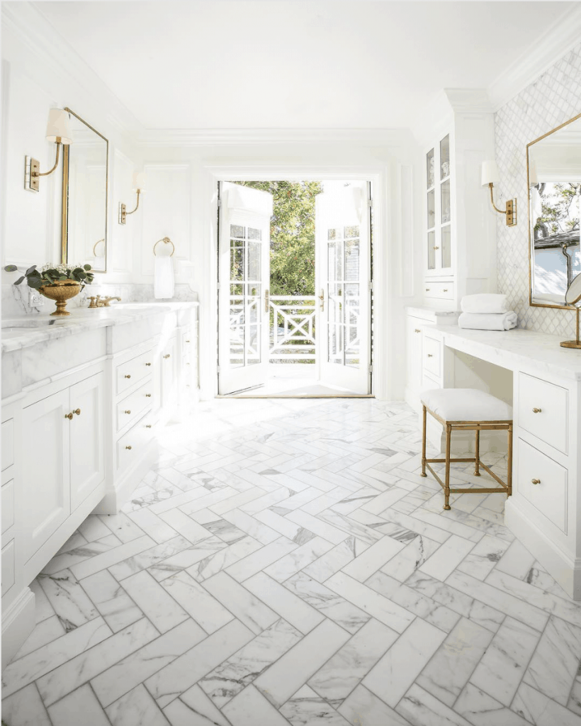 marble herringbone tile floor bathroom
