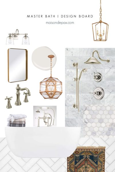 bathroom mood board with marble and gold fixtures | Maison de Pax
