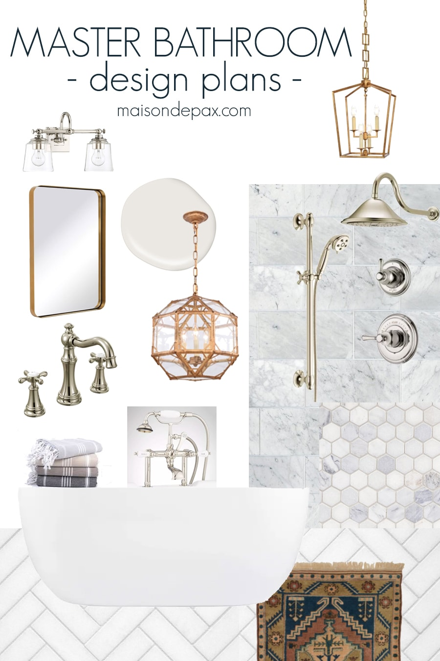 mood board with marble and mixed metal and freestanding tub