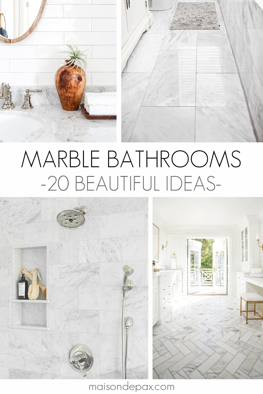 four images with marble countertops and tile in bathrooms