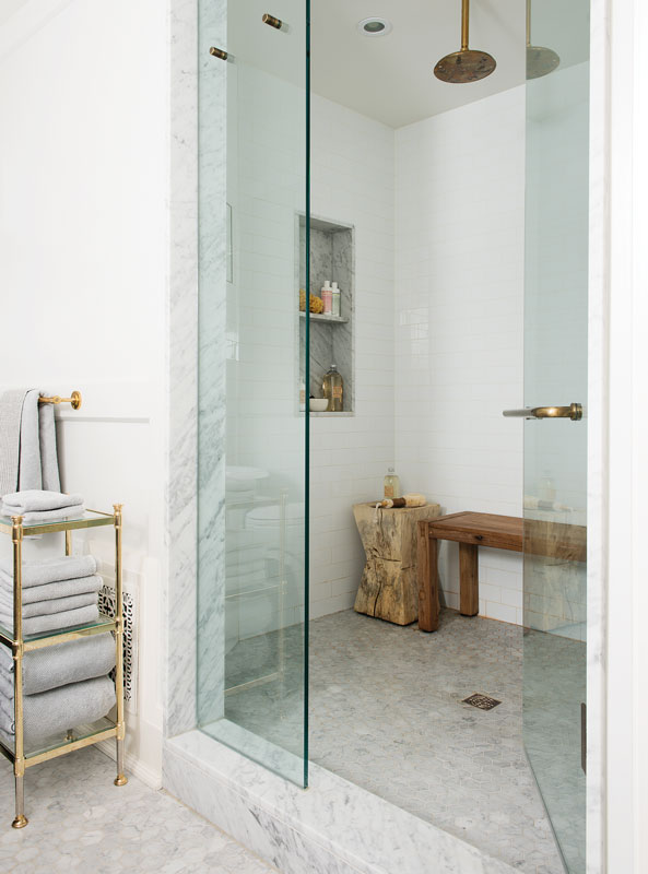 walk in shower with marble thresholds