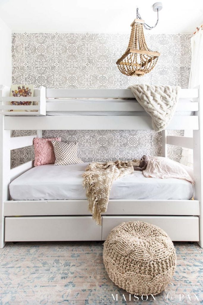 white wood bunk bed in girls' room | Maison de Pax