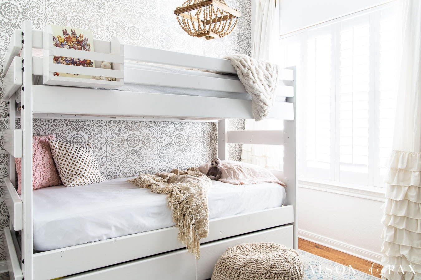 white bunk bed for girls room with ruffled curtains | Maison de Pax