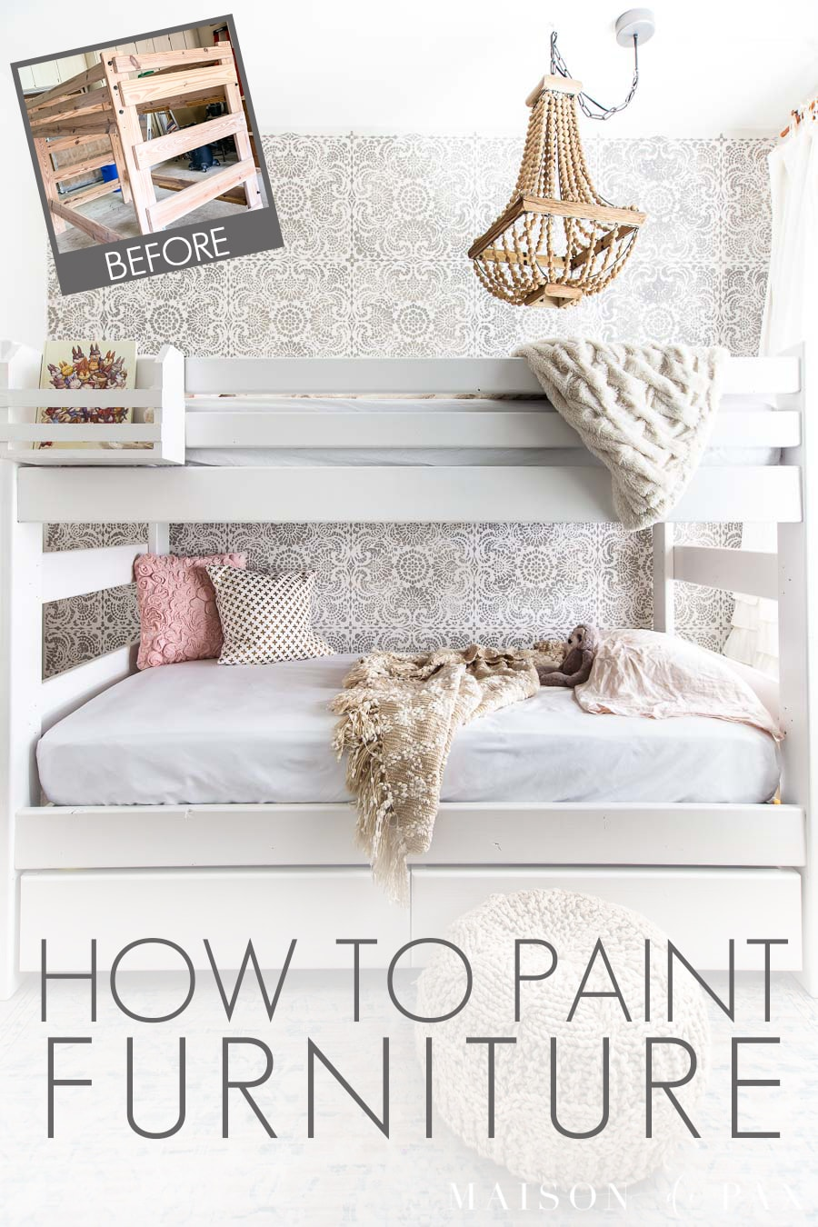 before and after painted bunk bed | Maison de Pax