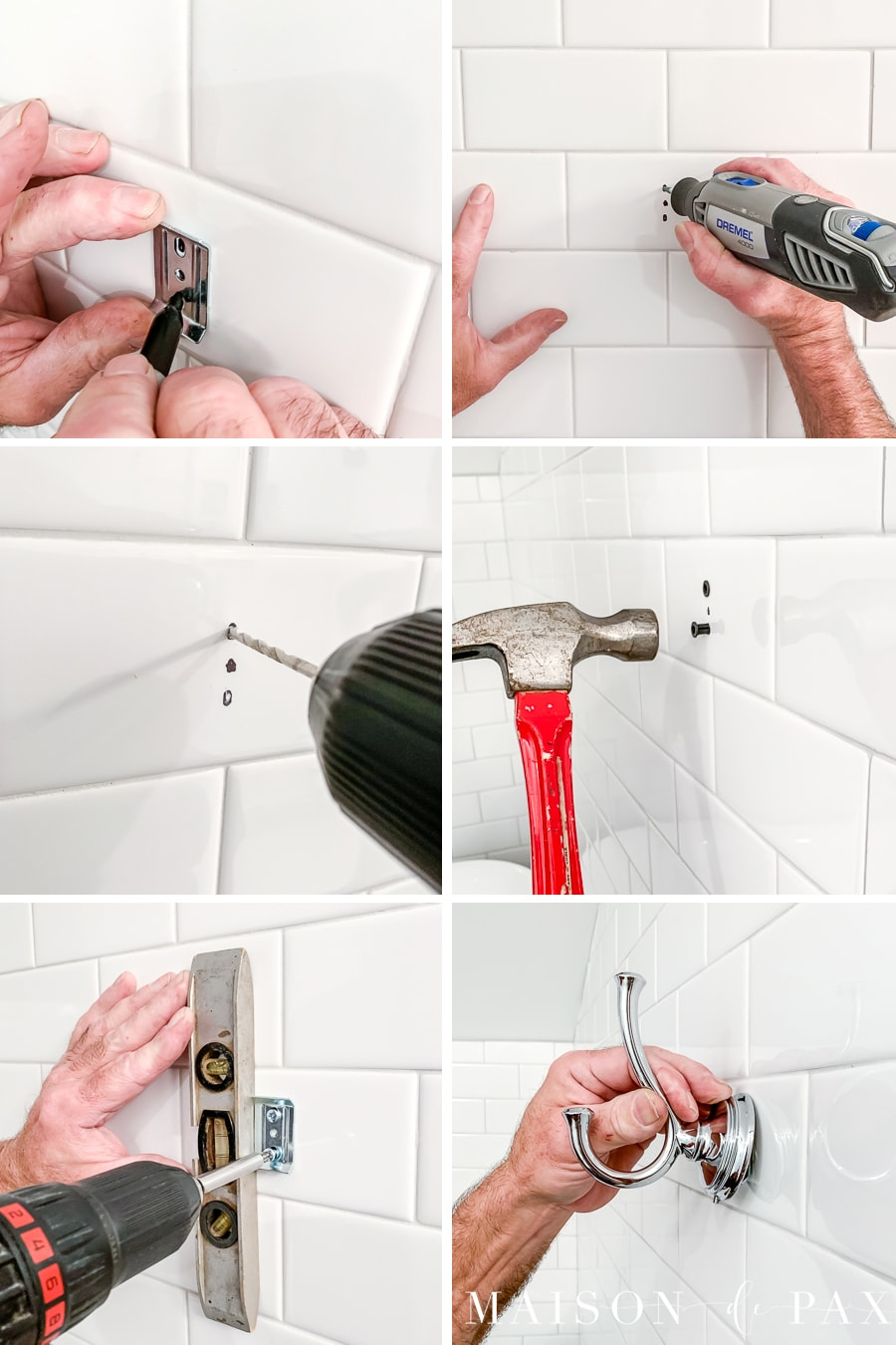step by step pictures for drilling into tile to hang a towel hook