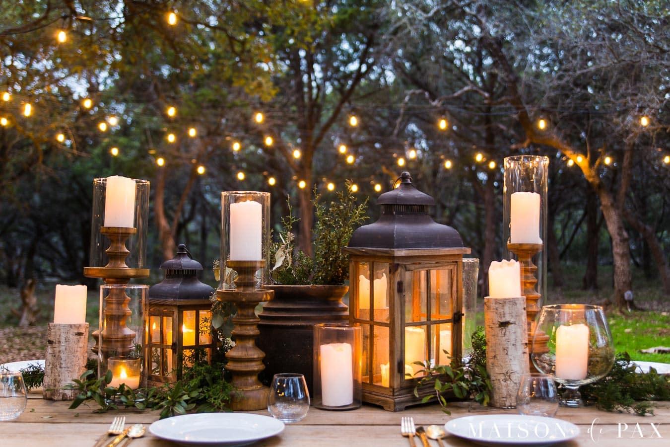 rustic elegant outdoor dining tablescape | maison de Pax