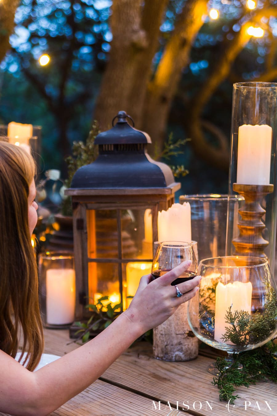 outdoor dinner party under the stars and string lights | maison de pax